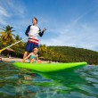 Father and daughter paddling — Stock Photo #57670951