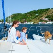 Family sailing on a luxury yacht — Stock Photo #59744161