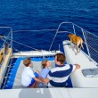 Family sailing on a luxury yacht — Stock Photo #60862373