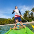 Father and daughter paddling — Stock Photo #60862433