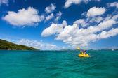 Family kayaking at tropical ocean — Stock Photo