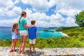 Family at Trunk bay on St John island — Stock Photo