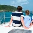 Family sailing on a luxury yacht — Stock Photo #63818845