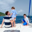 Family sailing on a luxury yacht — Stock Photo #67538127