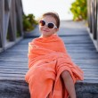 Cute little girl at beach — Stock Photo #70713647