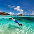 Little boy snorkeling in tropical water — Stock Photo #77003575