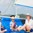 Mother and kids at luxury yacht — Stock Photo #77003661