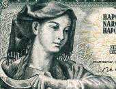 Yugoslavian farm woman with sickle — Stock Photo