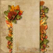 Vintage background with autumn decorations — Stock Photo