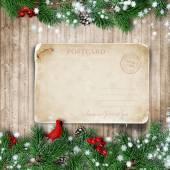Christmas fir-tree with greeting card — Стоковое фото