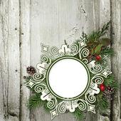 Christmas wreaths and frame — Stock Photo