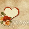 Background with roses and heart — Stock Photo #63709015
