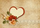 Background with roses and heart — Stock Photo