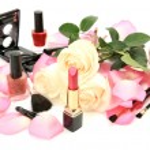 Decorative cosmetics and petals of roses — Stock Photo #52675119