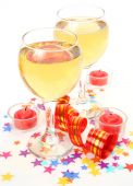 Wine and candles — Stock Photo