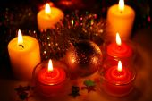 New Year's ornaments and candles — Stock Photo