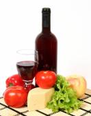 Wine and food stuffs — Stock Photo