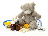 Tablets and Teddy Bear toy — Stock Photo