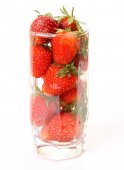Fresh strawberry in glass — Stock Photo