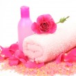 Bottle, towel and rose — Stock Photo #52778969