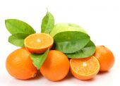 Ripe oranges and green apple — Stock Photo