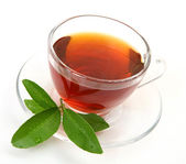 Tea and green leaf — Stock Photo