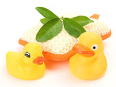 Rubber ducks and bathing bast — Foto de Stock