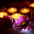 Chrysanthemums and candles — Stock Photo #54716845