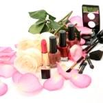 Petals of roses and decorative cosmetics — Stock Photo #54717345