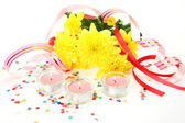 Chrysanthemums with holiday decorations — Stock Photo
