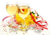 Wine and flowers  with holiday decorations — Stock Photo