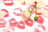 Print of lips and roses — Stockfoto