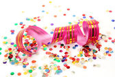 Streamer and color confetti — Stock Photo
