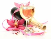 Champagne and pink orchid — Foto Stock