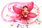 Pink orchid and tape — Foto de Stock
