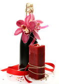 Champagne , pink orchid and candle — Foto Stock