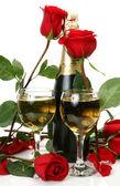 Szampan i róże — Zdjęcie stockowe