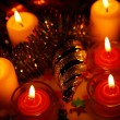 Christmas ornaments and candles — Stock Photo #55286301