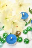 Lily e velas — Foto Stock