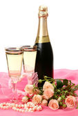 Fine roses and wine — Stock Photo