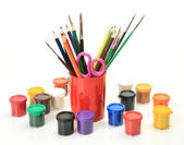 Color pencils and paints — Stock Photo