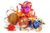 Gifts and christmas ornaments — Stock Photo