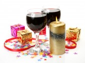 Wine and New Year's ornaments — Stock Photo
