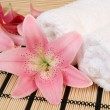 Towel and pink flower — Stock Photo #59973529
