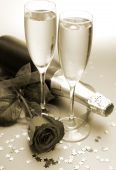Champagne and red rose — Stock Photo