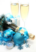 Champagne and New Year's balls — Foto de Stock