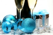 Champagne and New Year's balls — Stock Photo