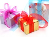 Three Boxes with a gifts — Stockfoto