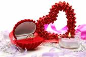 Ring heart and candle — Foto Stock