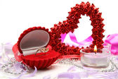 Ring heart and candle — Stock Photo